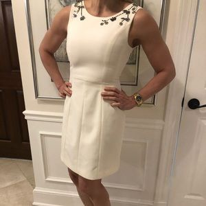 H&M Ivory Dress with lining and shoulder design.